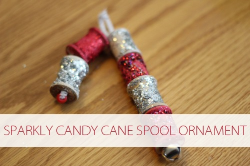 wooden spool candy cane ornament