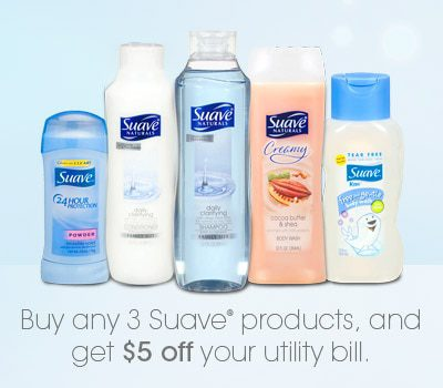 Buy 3 Suave Products and Save $5 Off Your Utility Bill
