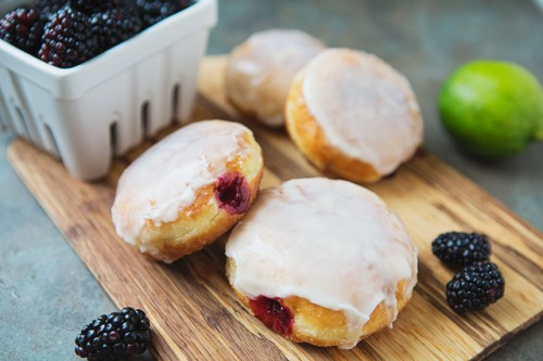 Lime and Blackberry Jam-Filled Doughnuts #recipe @  LifeYourWay.net