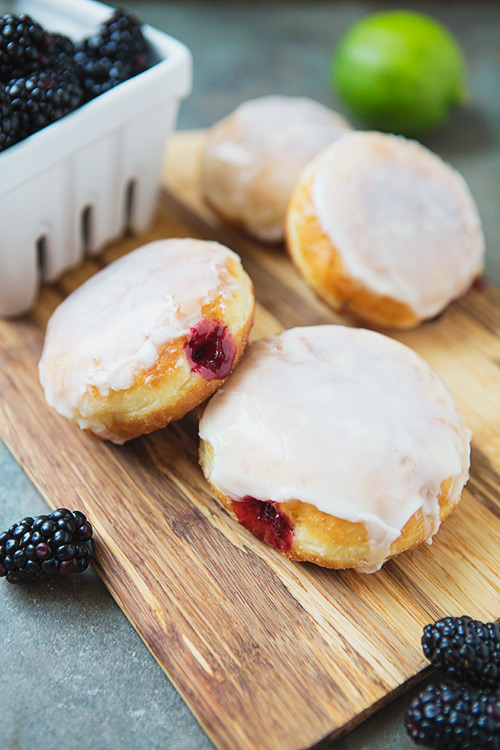 Lime and Blackberry Jam-Filled Doughnuts #recipe via LifeYourWay.net