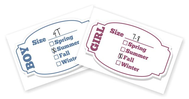 Printable Labels for Kids' Clothing Bins
