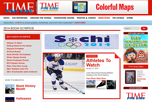 Time for Kids Olympic Mini Site