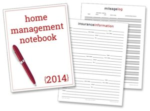 New Printables: Insurance Information, Mileage Log & Notebook Cover