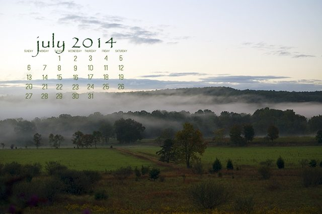 July 2014 Desktop Calendar at lifeyourway.net