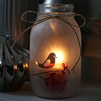 Etched Mason Jar Candle Holder