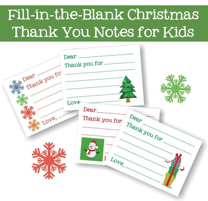Kids Fill-In-Christmas Thank You Cards
