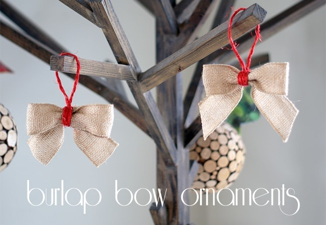 Burlap bow ornaments {101 Days of Christmas}