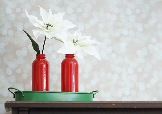 Enamel painted glass vases {101 Days of Christmas}