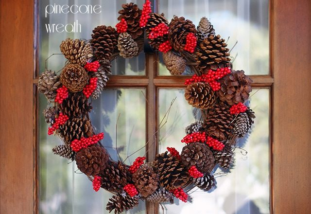 Pine cone and holly berry wreath {101 Days of Christmas}