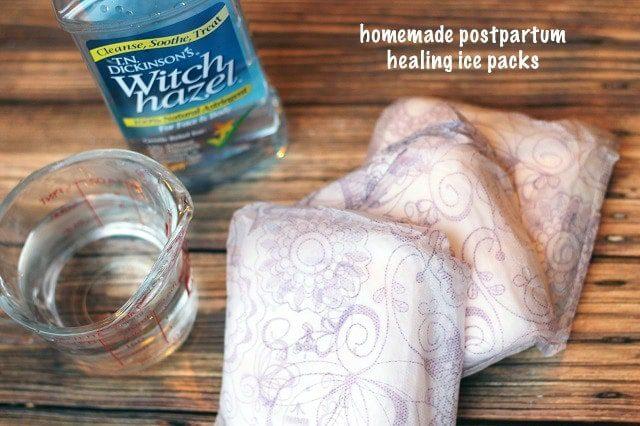 Homemade postpartum ice packs for momma
