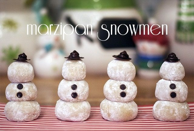 Marzipan snowmen {101 Days of Christmas}