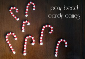 Pony bead candy canes {101 Days of Christmas}