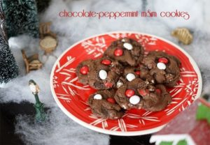 Chocolate peppermint M&M cookies {101 Days of Christmas)