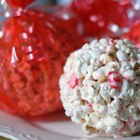Candy Cane Popcorn Balls