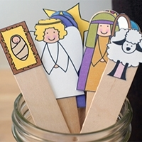 Popsicle Stick Nativity Puppets