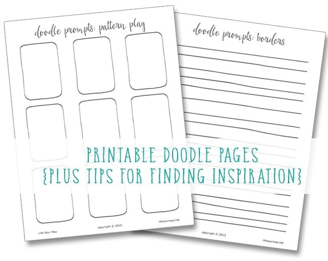 Finding inspiration for your doodles {plus 2 printable doodle pages!}