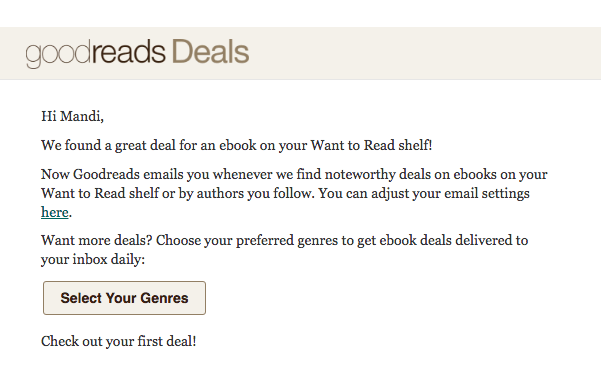 Kindle deals from Goodreads