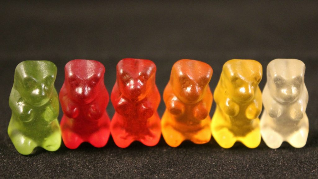 Gummies in a row