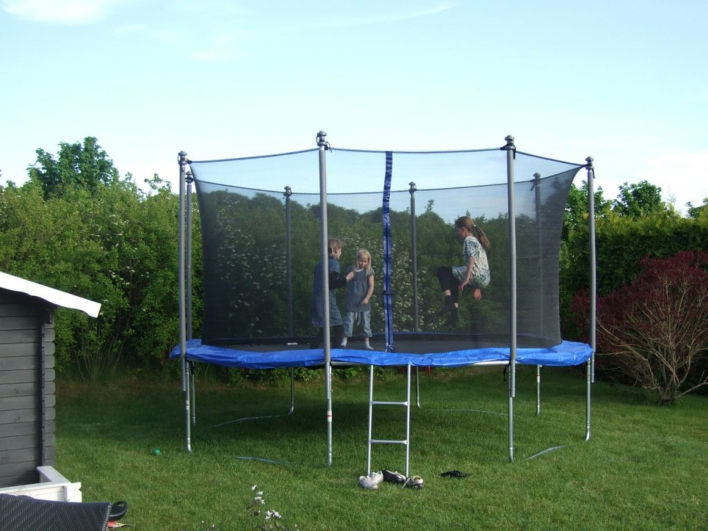 Trampoline in the backyard