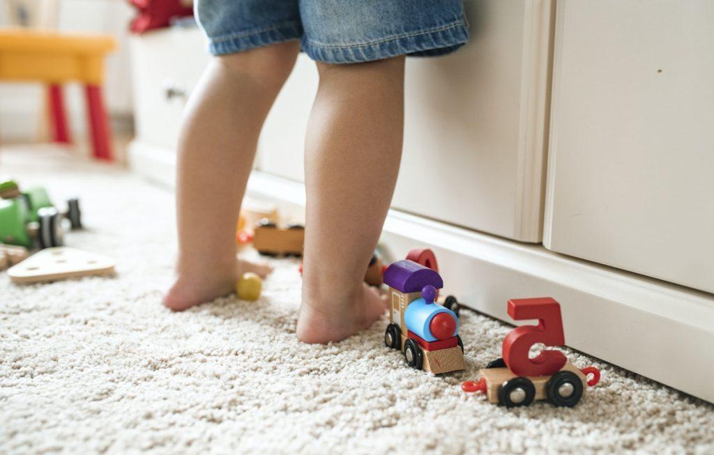 Barefoot on rug