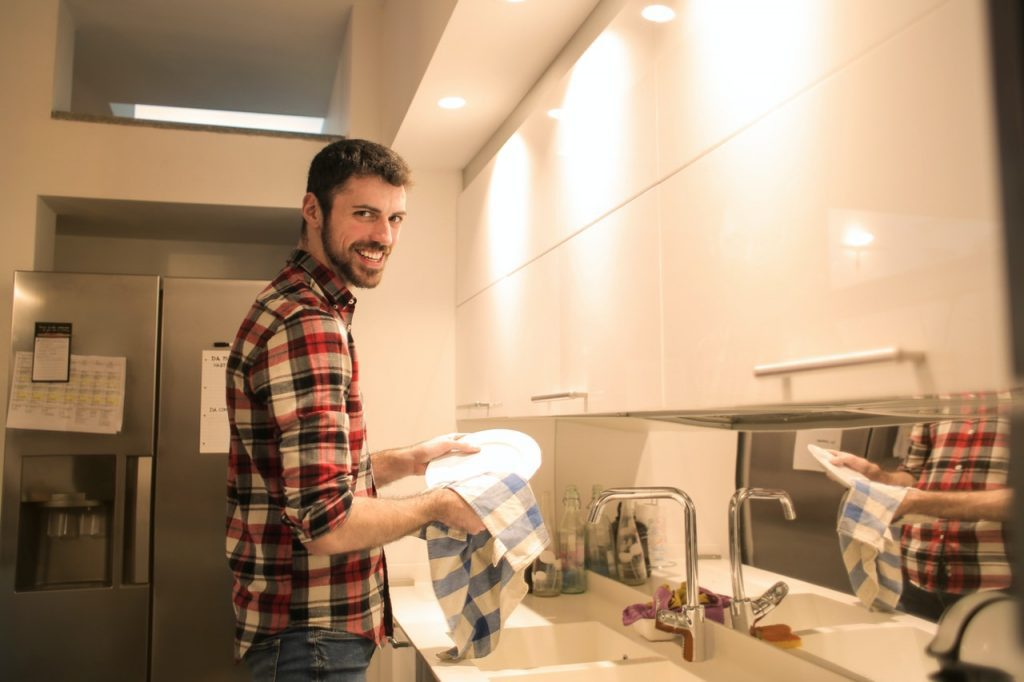Man doing dishes