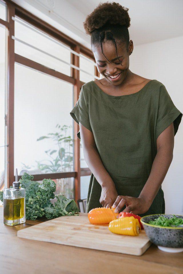 Woman cutting veggies