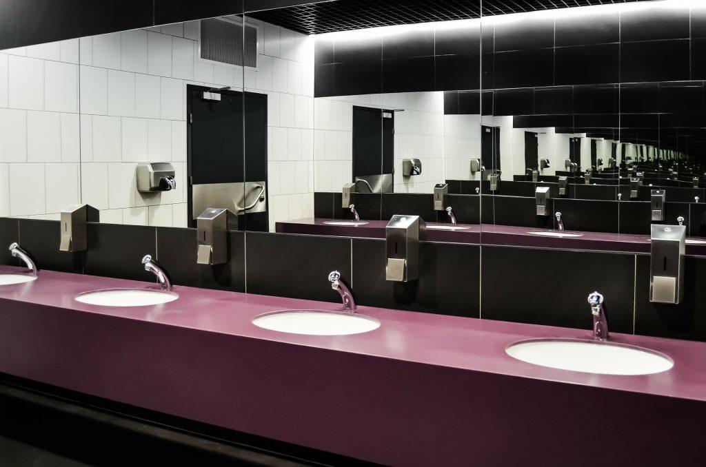 Office bathroom mirror