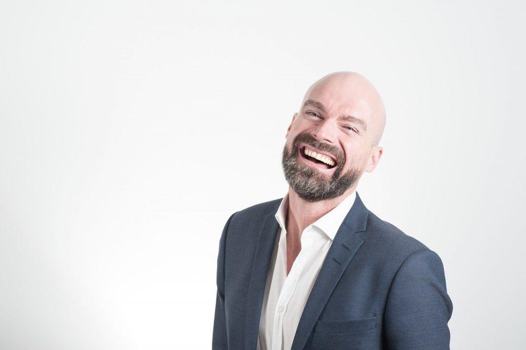 Happy bald man