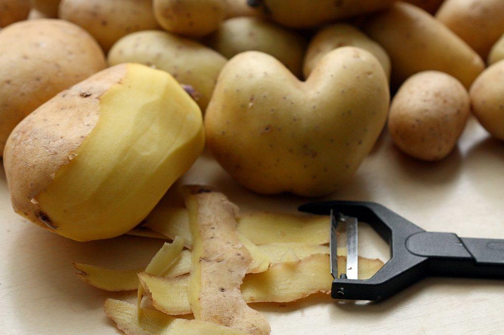 Potato peelings for scrap bowl