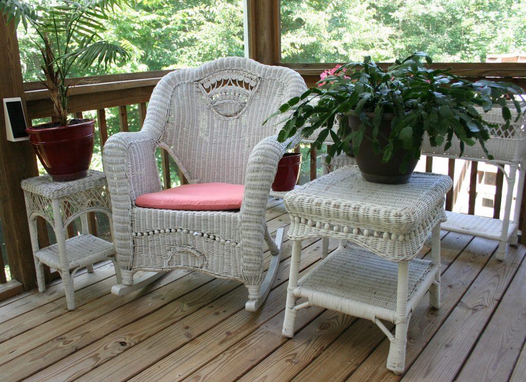 White wicker rocking chair