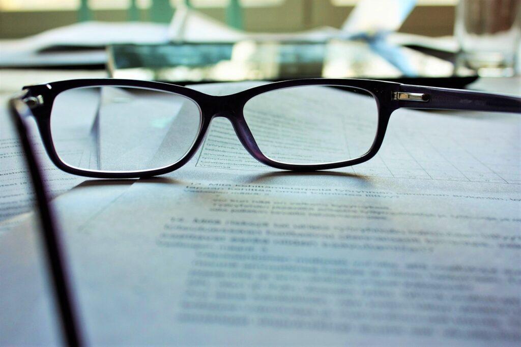 black-rimed glasses