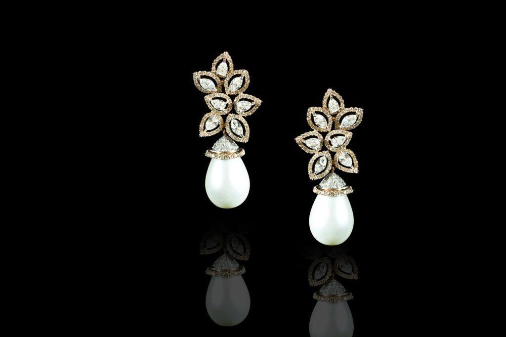 earrings pearl and diamond
