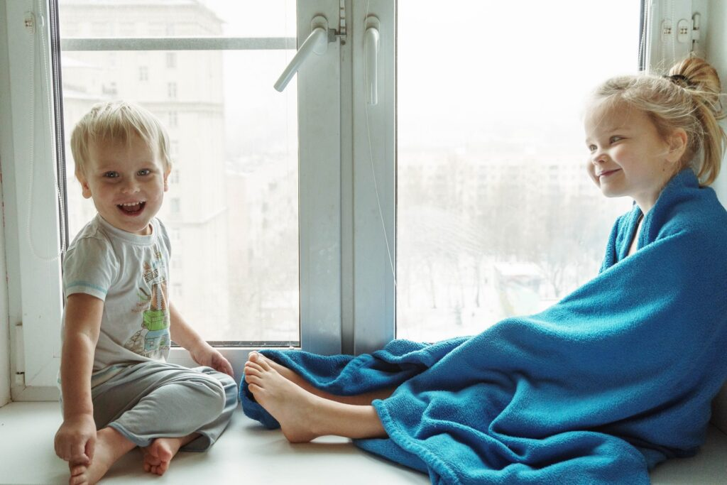 Toddler with blanket
