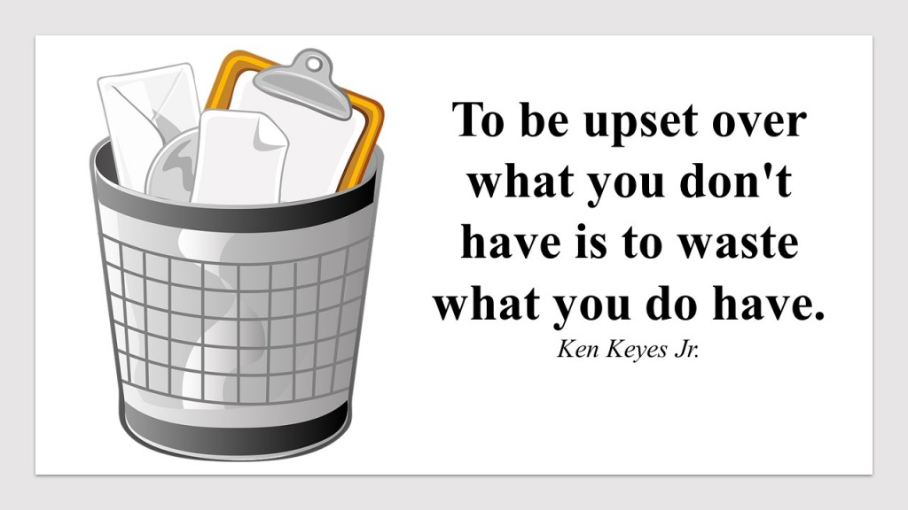 To be upset over what you dont have is to waste what you do have.jpg